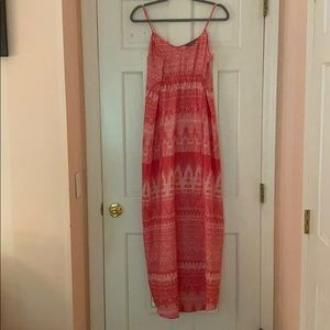 Pink and white patterned maxi dress